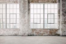 3d Render Of Empty Industrial Vintage Interior