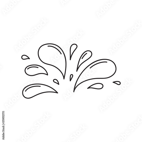 A lot of small spray and droplets. Contour water drop icon. Hand drawn cartoon illustration of aqua. Symbol of splashing liquid in doodle style. Isolated outline vector image Fototapete