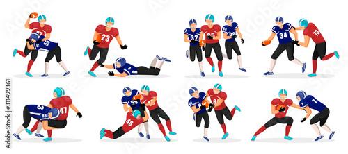 Kolekcja ludzi grających w futbol amerykański. Zbiór różnych graczy stanowią w szorstkiej grze sportowej. Amerykańscy gracze futbolu w akcji. Profesjonalni sportowcy z piłką w rękach