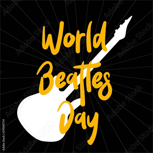 The Beatles' Poster for the Beatles Day. Guitar. Rock music. Wallpaper Mural