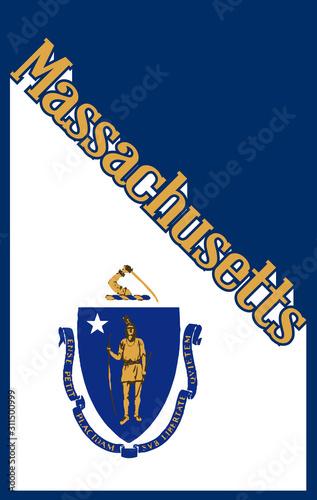 Obraz na plátně Massachusetts State Angled Shadow Text With Flag Icon