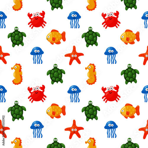 Photo seamless pattern cute funny sea and ocean animals cartoon isolated on white background
