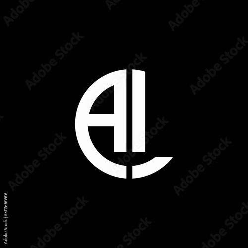Photo AL monogram logo circle ribbon style design template