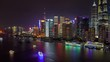 Shanghai boats on Huangpu river at Pudong New Area timelapse pan up