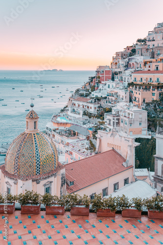 Positano at sunset, Amalfi Coast, Campania, Italy. Canvas Print