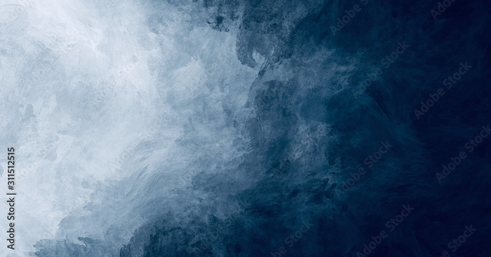 Fototapeta Abstract watercolor paint background dark blue color grunge  texture for background, banner