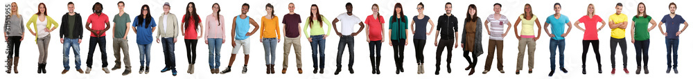 Fototapeta Large group of young people smiling happy multicultural multi ethnic full body standing in a row
