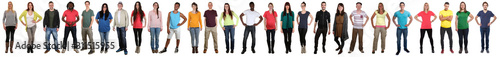 Obraz Large group of young people smiling happy multicultural multi ethnic full body standing in a row - fototapety do salonu