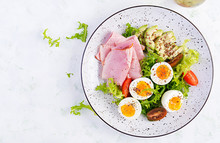 Ketogenic/paleo Diet. Boiled Eggs, Ham, Avocado And Fresh Salad.  Keto Breakfast. Brunch.  Top View, Overhead
