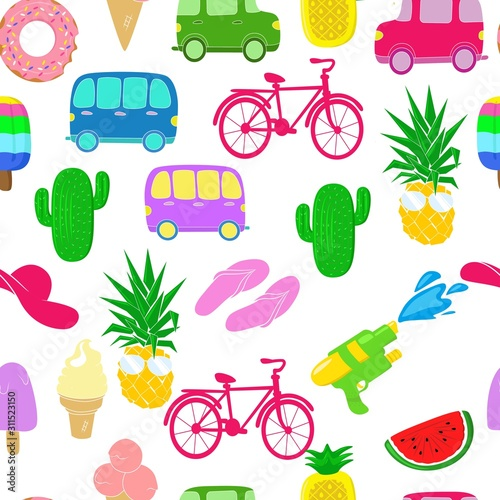 Fototapeta vector illustration pattern summer elements, machine, bike, ice cream, glasses,