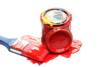 Red Paint Can And Brush Isolat...