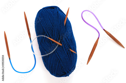 Blue yarn skein for hand knitting and crochet on white background isolated Canvas Print