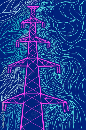 Photo Power line. Vector illustration. Hand drawing