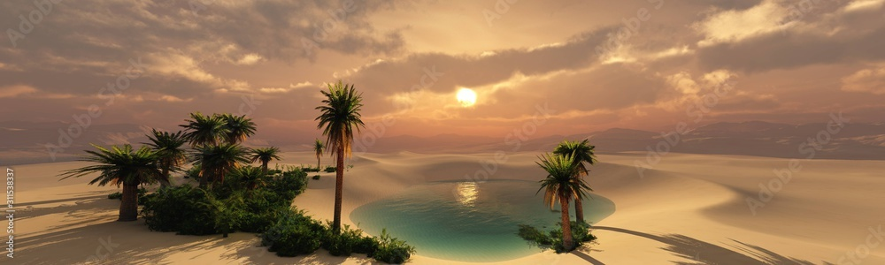 Fototapeta Oasis at sunset in a sandy desert, a panorama of the desert with palm trees, 3d rendering