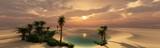 Oaza przy zmierzchem w piaskowatej pustyni, panorama pustynia z drzewkami palmowymi, 3d rendering
