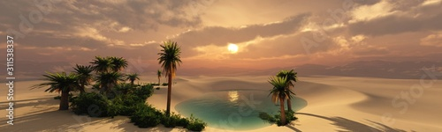 Obraz Oasis at sunset in a sandy desert, a panorama of the desert with palm trees, 3d rendering - fototapety do salonu