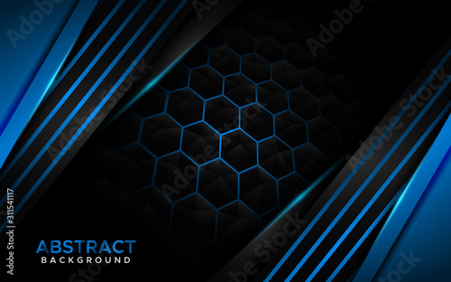 Futuristic modern blue background with blue lines. Abstract background design - 311541117