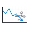 Scissors cut the arrow of the fall graph. Vector image on a white background.