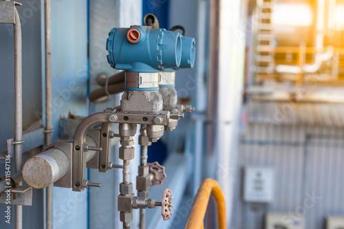 Billede på lærred Pressure transmitter in boiler coal fired power plant ,Electronic transducer and sent data from production process to Processor Logic Controller