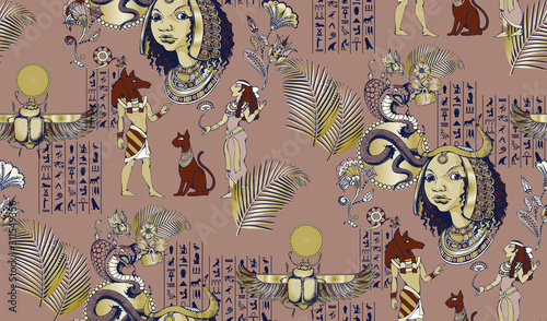 Cuadros en Lienzo Seamless pattern with ancient egyptian motifs