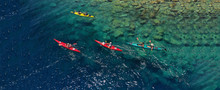 Aerial Drone Ultra Wide Photo Of Sport Canoe In Tropical Exotic Pacific Island Bay