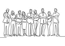 One Line Drawing Of Business Team Standing Together. Continuous Workers Hand Drawn Sketch Minimalist.