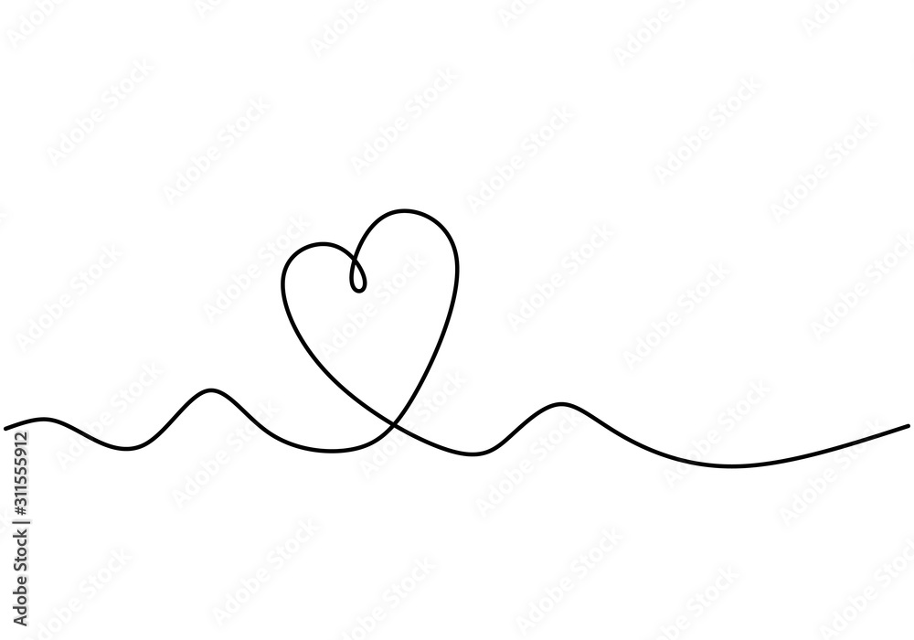 Fototapeta Continuous one line drawing of heart symbol of love with artistic lineart.