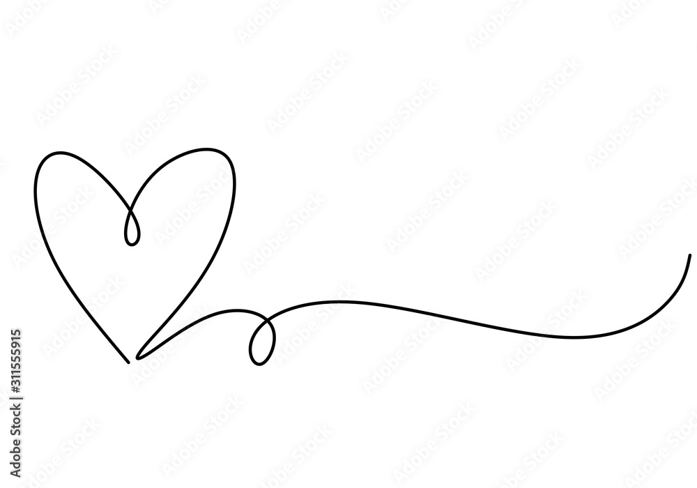 Fototapeta Heart one line drawing symbol of love. Vector continuous hand drawn sketch minimalism illustration isolated on white background.
