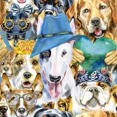 Panel Szklany Pies Watercolor seamless pattern of dogs on white background