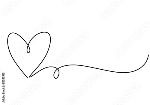 Heart one line drawing symbol of love. Vector continuous hand drawn sketch minimalism illustration isolated on white background. - fototapety na wymiar