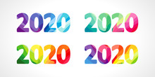 2020 Logo. Merry Christmas And A Happy New Year Seasonal Calender Numbers, Stained Glass Concept. Abstract Isolated Graphic Web Design Template. Creative Set. 20%, -20% Percent Off Discount Collection