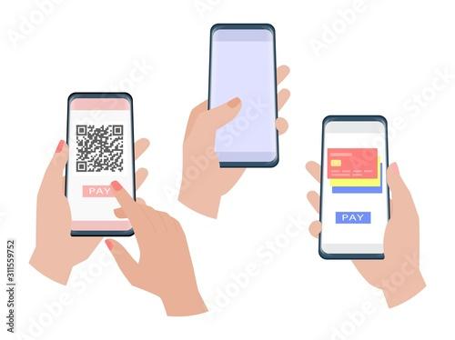 Fototapeta Hand holding smartphone obraz
