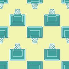Green Basketball Backboard Icon Isolated Seamless Pattern On Yellow Background.  Vector Illustration