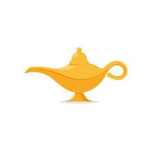 Lamp Aladdin Magic Vector Icon. Aladin Genie Lamp Bottle Wish Cartoon Illustration