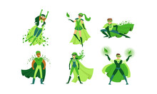 Eco Superheroes Wearing Green Costumes Vector Illustrations Set
