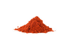 Bunch Of Red Pepper Powder Isolated On White Background