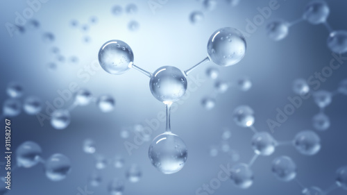Stampa su Tela 3d Rendering Molecular Structure,Ozone,Hydrogen and oxygen,Selective focus