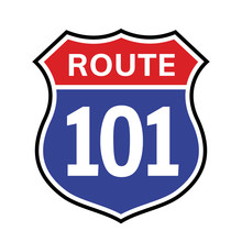 101 Route Sign Icon. Vector Ro...