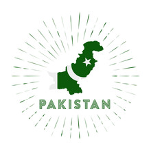 Pakistan Sunburst Badge. The Country Sign With Map Of Pakistan With Pakistani Flag. Colorful Rays Around The Logo. Vector Illustration.