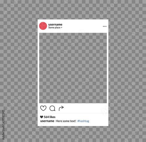 Obraz Social network photo frame mobile template. Social media app vector illustration - fototapety do salonu