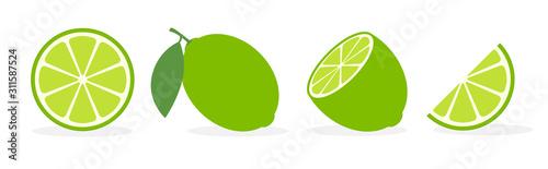 Fotografia Vector lime slice green illustration lemon isolated half fruit lime