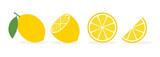 Lemon slice citrus fruit flat icon. Vector lemon half cut logo, yellow simple illustration