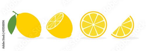 Lemon slice citrus fruit flat icon. Vector lemon half cut logo, yellow simple illustration