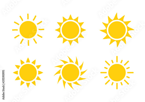 Fototapeta Sun icon symbol illustration, Sunlight design weather. Flat sunshine isolated set of sun logo obraz
