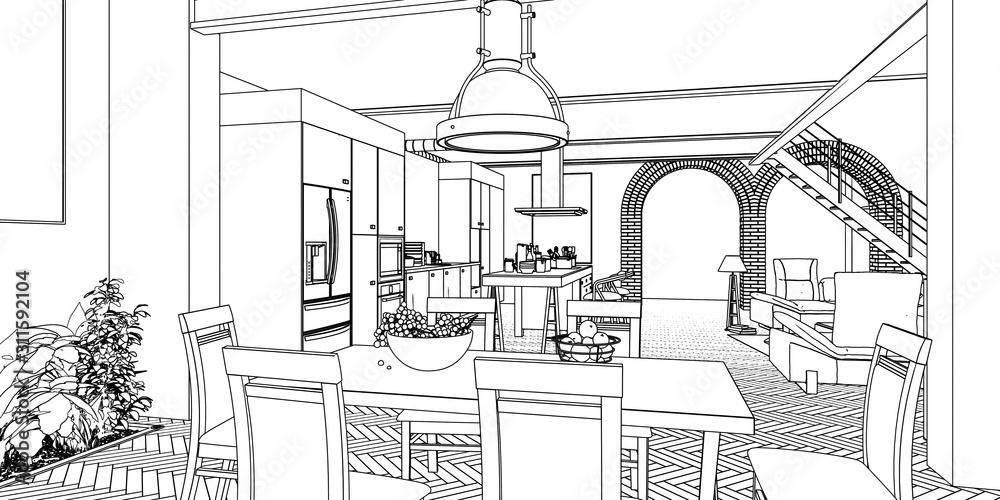 sketch of house interior - 3d illustration