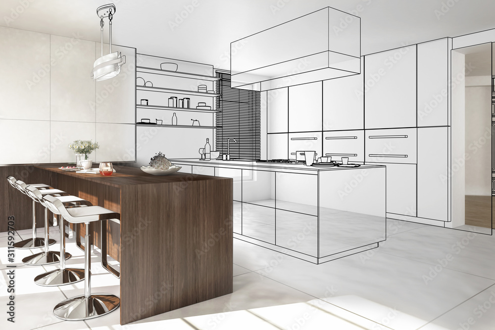 Fototapeta Interior of modern kitchen - 3D illustration