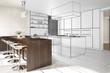 Interior of modern kitchen - 3D illustration