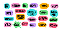 Set Of Comic Speech Bubbles. Chat, Communication Concept. Vector Illustration