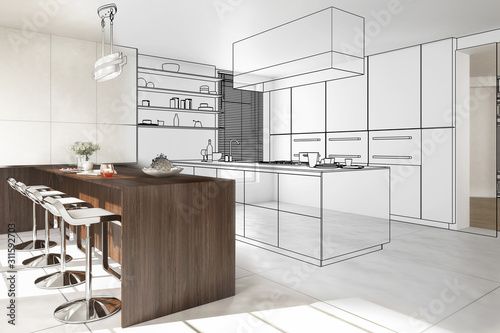 Obraz Interior of modern kitchen - 3D illustration - fototapety do salonu