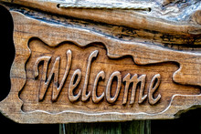 Welcom Sign Carved On Wood